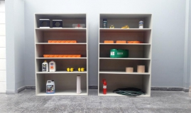 Storage shelf out of Paneltim plastic sandwich panels