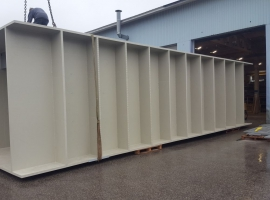Flood tank made from Paneltim plastic sandwich panels