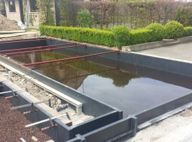 Swimming pond with fish and biofilter in Paneltim plastic sandwich panels