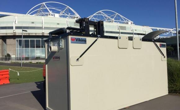 Mobile wastewater tank made of Paneltim panels